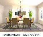 interior dining area. 3d... | Shutterstock . vector #1376729144
