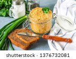 Stock photo classic salty herring pate with melted cheese and boiled carrots green onions 1376732081