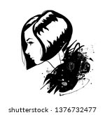 fashion girl in sketch style on ... | Shutterstock . vector #1376732477