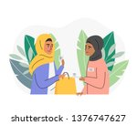 muslim woman making purchases... | Shutterstock .eps vector #1376747627