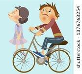 boy riding a bike   Shutterstock .eps vector #1376763254