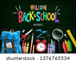 welcome colorful back to school ... | Shutterstock .eps vector #1376765534