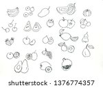 hand drawn set of fruits...   Shutterstock . vector #1376774357
