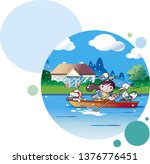 kid playing on a boat | Shutterstock .eps vector #1376776451