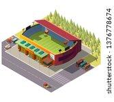 soccer stadium open roof...   Shutterstock .eps vector #1376778674