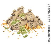 bags of money and stack of gold ... | Shutterstock .eps vector #1376782937