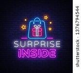 surprise neon sign vector... | Shutterstock .eps vector #1376794544