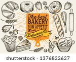 bakery illustration   cake ... | Shutterstock .eps vector #1376822627