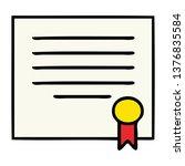 cute cartoon of a work diploma  | Shutterstock . vector #1376835584