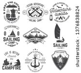 set of summer camp and sailing... | Shutterstock .eps vector #1376838824