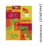 dinosaur vector seamless... | Shutterstock .eps vector #1376874947