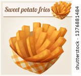 sweet potato fries in paper box.... | Shutterstock . vector #1376881484