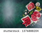 various raw beef meat with... | Shutterstock . vector #1376888204