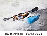 an active male kayaker rolling... | Shutterstock . vector #137689121