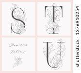 vector hand drawn flowered... | Shutterstock .eps vector #1376910254