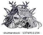 monster girl. young elf magic... | Shutterstock .eps vector #1376911154