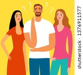 cartoon man and two women...   Shutterstock .eps vector #1376911577