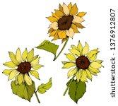 vector sunflower floral... | Shutterstock .eps vector #1376912807