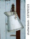 Steel Bucket Hanging On Wooden...