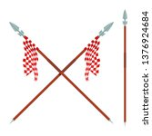 two spears with red  flag on a... | Shutterstock .eps vector #1376924684
