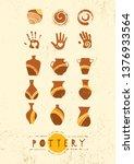 handmade ceramics clay pottery... | Shutterstock .eps vector #1376933564