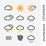 forecast weather icons set | Shutterstock .eps vector #137694644