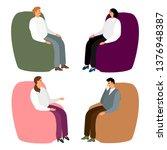 people in armchairs. cartoon... | Shutterstock .eps vector #1376948387