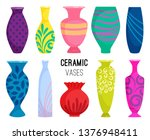 ceramic vases collection.... | Shutterstock .eps vector #1376948411