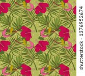 seamless pattern with colibri... | Shutterstock .eps vector #1376952674