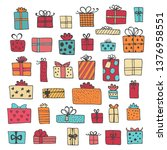 hand drawn gift boxes set... | Shutterstock .eps vector #1376958551