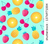seamless pattern with cherries... | Shutterstock .eps vector #1376971004