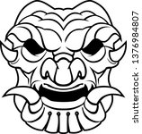 line art samurai mask | Shutterstock .eps vector #1376984807