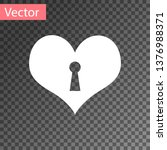 white heart with keyhole icon... | Shutterstock .eps vector #1376988371