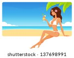 Summer Seaside Banner With A...