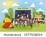 summer music festival outdoor.... | Shutterstock .eps vector #1377018014