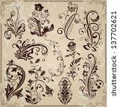 floral vintage vector design... | Shutterstock .eps vector #137702621