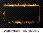 golden frame with lights... | Shutterstock .eps vector #1377027017
