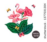 tropical flowers  jungle leaves ... | Shutterstock .eps vector #1377031304