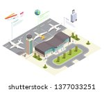 airport isometric composition... | Shutterstock .eps vector #1377033251