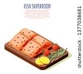 fish superfood isometric design ...   Shutterstock .eps vector #1377038681