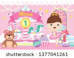 carousel party backdrop with... | Shutterstock .eps vector #1377041261