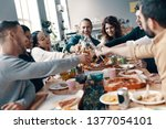 quality time among friends.... | Shutterstock . vector #1377054101
