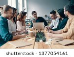 marketing team. group of young... | Shutterstock . vector #1377054161