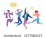 group of young people jumping... | Shutterstock .eps vector #1377082217