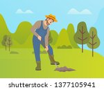 man using shovel to dig hole... | Shutterstock .eps vector #1377105941