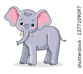 elephant stands on a white... | Shutterstock .eps vector #1377109097