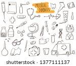 set of medicine doodles. hand... | Shutterstock .eps vector #1377111137