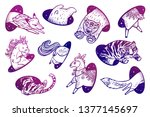 collection of animals in magic... | Shutterstock . vector #1377145697