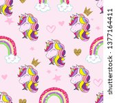 cute unicorn and rainbow vector ...   Shutterstock .eps vector #1377164411