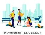city park landscaping. spring... | Shutterstock .eps vector #1377183374